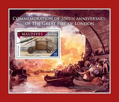 Z08 IMPERFORATED MLD161106b MALDIVES 2016 Great Fire of London MNH Postfrisch