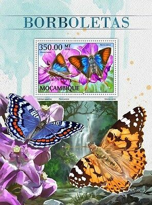 Z08 IMPERFORATED MOZ16514b MOZAMBIQUE 2016 Butterflies MNH Mint