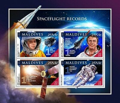 Z08 IMPERFORATED MLD161104a MALDIVES 2016 Spaceflight records MNH Postfrisch