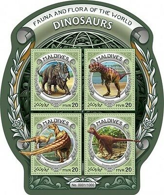 Z08 IMPERFORATED MLD16303a MALDIVES 2016 Dinosaurs MNH