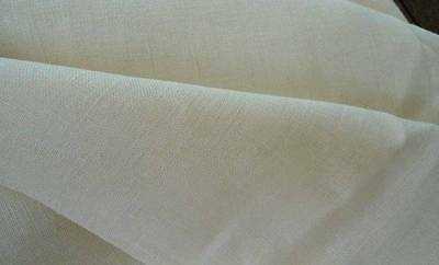 Vintage Pure Irish Linen Tablecloth to Embroider Pale Ecru Unused 43""
