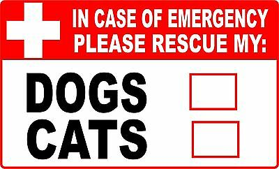 2 pack PET ALERT STICKER - Dogs and Cats Emergency Rescue, Save Our Pets Decal