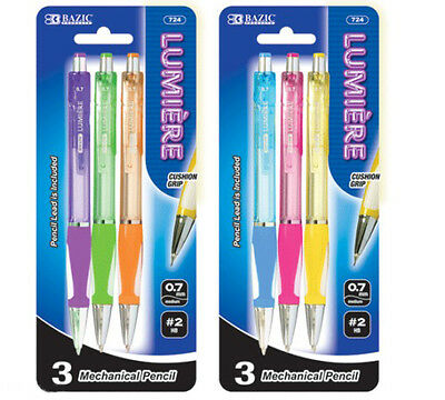 #724 Bazic 3pc/Pack LUMIERE mechanical pencil in Assorted Color w/ Cushion Grip