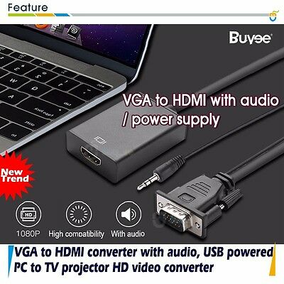 VGA to HDMI 1080P HD AV Converter HDTV +Audio Video Cable Adapter for PC DVD STB