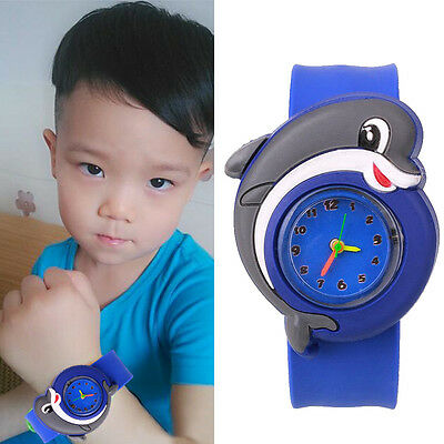 Cute Lovely Cartoon Slap Snap On Silicone Wrist Watch Boys Children Kids Gift