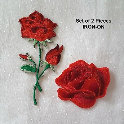 Bloming Red Roses Embroidered Iron-on Emblem Flower Badge Patch Rose Applique