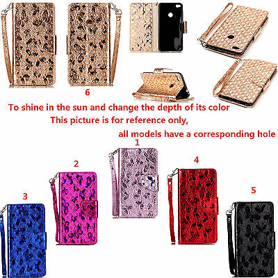 ZD For Various Series Phone Laser Butterfly Strap Wallet Card Leather Case Cover