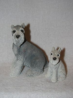 Schnauzer Dog & Puppy Figurines By Stone Critters Made In USA