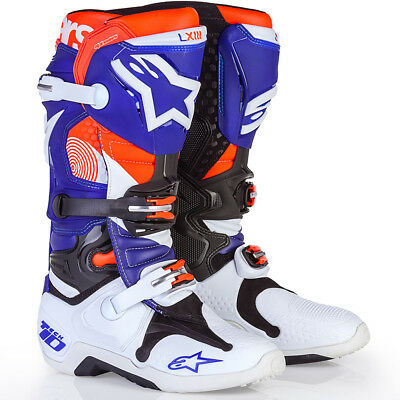 NEW Alpinestars Mx 2017 LE Tech 10 Indianapolis Blue Orange Motocross Boots