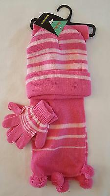Girls 3 Piece Striped Winter Set, Beanie, Scarf, and Mittens