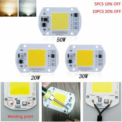 110v 220v LED Floodlight 20/30/50W Cool/Warm White COB Chip Smart IC Driver Lamp