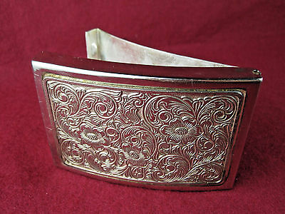Vintage SECRET COMPARTMENT Belt buckle Money Clip Metal Silver Ornate western