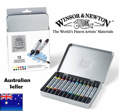 12 Winsor and Newton Watercolour Markers Pens Set Paint Brush Twin Tip