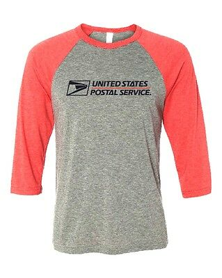 Usps Postal Red & Gray 3/4 Sleeve Raglan T-Shirt 2 Color Postal Logo On Chest