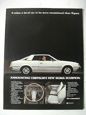 1978 Chrysler Sigma Scorpion Australian Magazine Fullpage Colour Advertisement