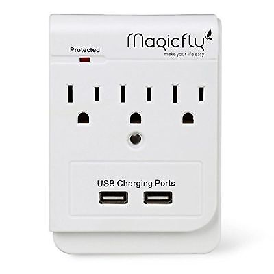 Magicfly Power 3 AC Outlet Socket Wall Mount Surge Protector with Dual USB Ch...