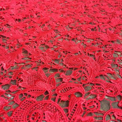 "1 Yard Stunning Red Guipure Lace Fabric Embroidery 51""Width for Bridal Dress"