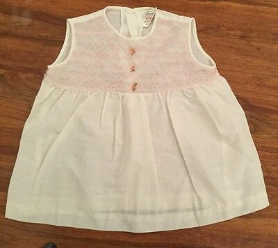 Vintage 70's St Michaels Baby Dress White With Pink Rise Buds 9-18months