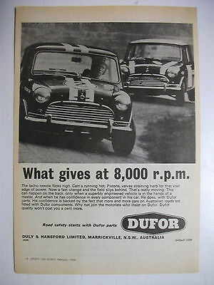 1968 Dufor What Gives At 8000Rpm Mini Cooper S Australian Magazine Advertisement