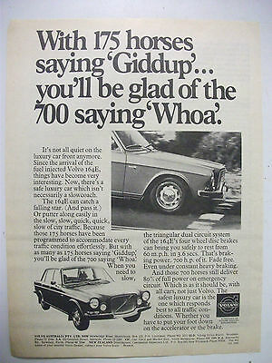 1972 Volvo 164E Fullpage Australian Magazine Advertisement