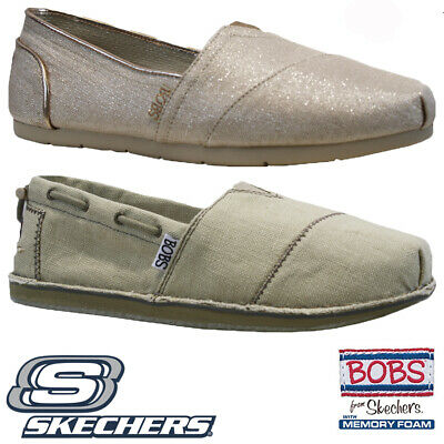 Ladies Skechers Bobs Memory Foam Comfort Canvas Plimsolls Pumps Trainers Shoes