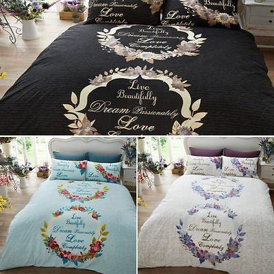 Live & Dream Scripted Duvet Covers Quilt Cover Reversible Bedding Sets All Sizes