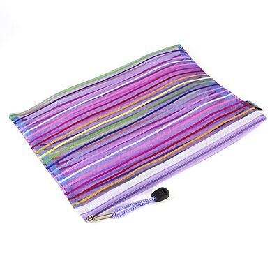A5 Nylon Stripe Zipper Closure Documents Mesh File Bag - Purple BF
