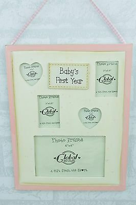 Shabby Chic My First Year Collage Photo Frame Baby Pink Girl or Boy Gift F0259B