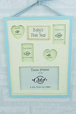 Shabby Chic My First Year Collage Photo Frame Baby Blue Boy or Girl Gift F0259C