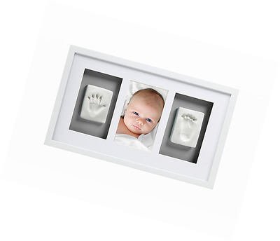 Newborn Baby Handprint and Footprint Deluxe Wall Photo Frame
