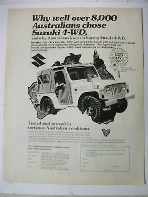 1977 Suzuki Soft Top 4-Wheel Drive Australian Magazine Fullpage Advertisement