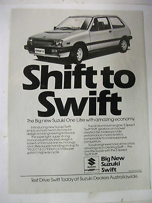 1984 Suzuki Swift Shift To Swift Australian Magazine Fullpage Advertisement