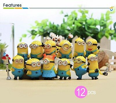 12pcs Cute Despicable Me 2 Minions Movie Character Figures Doll Toy Gift CA