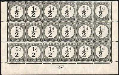 Gold Coast SG D1 1923 Postage Due ½d black, lower 3 rows