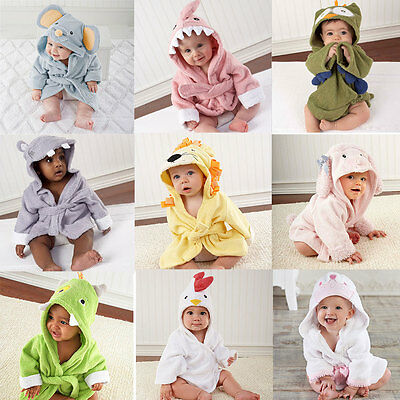 Cute BabyGirl Kid Cute Wrap Bathrobe Animal Cartoon Soft Hooded Beach Towel Robe