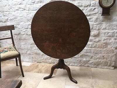 Late Georgian Antique Oak Snap Tip Top Supper Breakfast Occasional Tripod Table