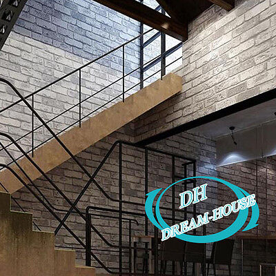 Home Cafe Bar Wall Paper Roll Cover 3D Retro Vintage Stone Brick Wallpaper Sheet