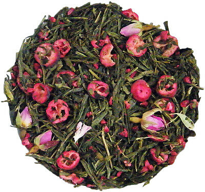 Cranberry Rose Green Sencha Loose Leaf Tea in a Choice of Quantities