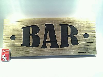 Heavy Rustic Engraved Wood 'Bar' Sign