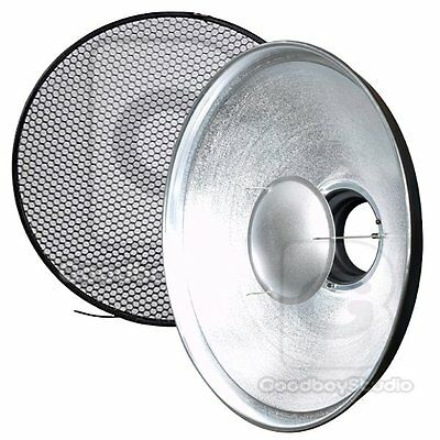 US STOCK 55cm 22'' Silver Beauty Dish SOLID Honeycomb Grid Diffuser Bowens Mount