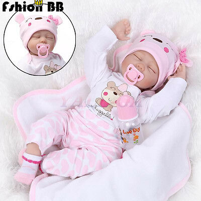 22''Handmade Lifelike Baby Toy Doll Silicone Vinyl Reborn Newborn Girl Sleeping