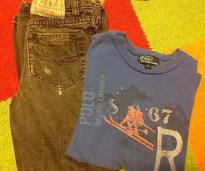 Ralph Lauren Boys 2 Pc Lot Size 6-7 Distressed Jeans and Long Sleeve Tee