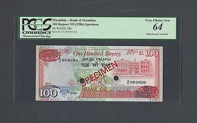 Mauritius 100 Rupees ND(ca.1986) P38s Specimen TDLR N002 Uncirculated