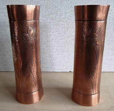 Pair of stunning Solid Copper Arts & Crafts Art Nouveau Vases 7 Inches Tall