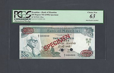 Mauritius 200 Rupees ND(1985) P39as Specimen TDLR N002 Uncirculated