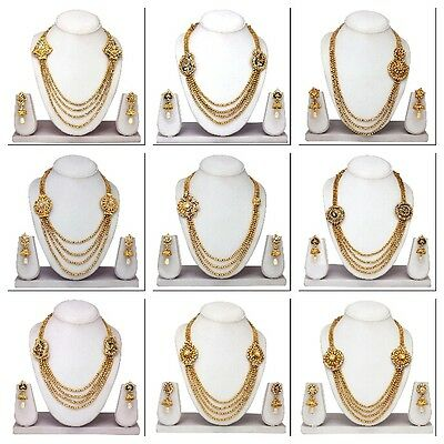 South Indian Traditional Gold plated Ethnic Bridal Necklace Earrings Jewelry Set