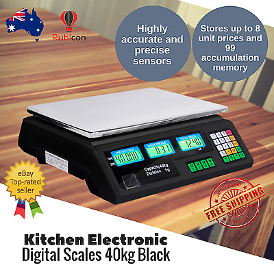 Digital Kitchen Electronic Weight Scales Kitchen Food Scale 1G / 40kg Black