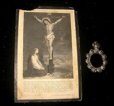 "ANCIENT! > DATED "" 1860"" Holy Card / LATIN Provenence WITH SILVER FINGER ROSARY"