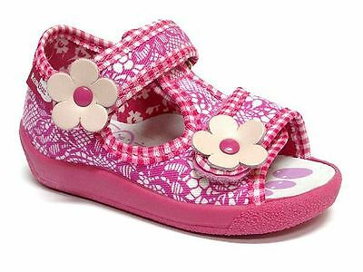 Baby Toddler Girls Canvas Shoes Kids Sandals - Two Flowers (UK 3 / EU 19)