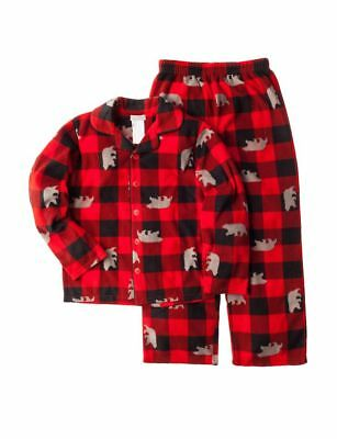 Komar Kids Boys Bear Fleece Plaid 2 Piece Pajama Set, Red Print